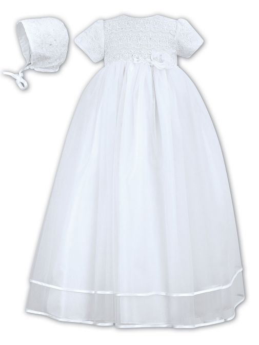 Sarah Louise White Christening Gown & Bonnet 001087 white