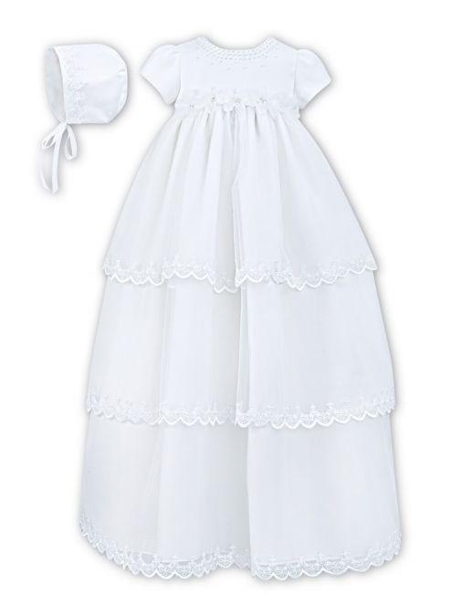 Sarah Louise White Christening Gown & Bonnet 001148S/WHITE