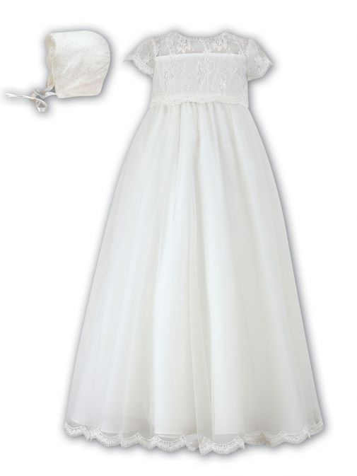Sarah Louise Ivory Christening Gown & Bonnet 001095 ivory