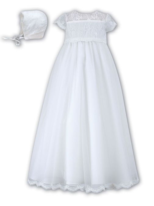 Sarah Louise White Christening Gown & Bonnet 001095 white