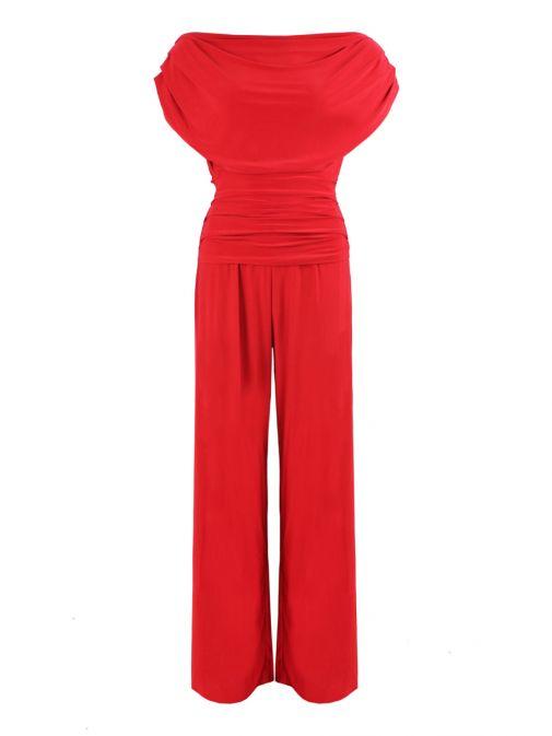Atom Label Red Off The Shoulder Jumpsuit 002/NA/17