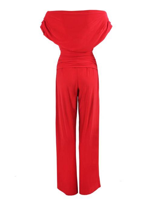 Atom Label Red Off The Shoulder Jumpsuit
