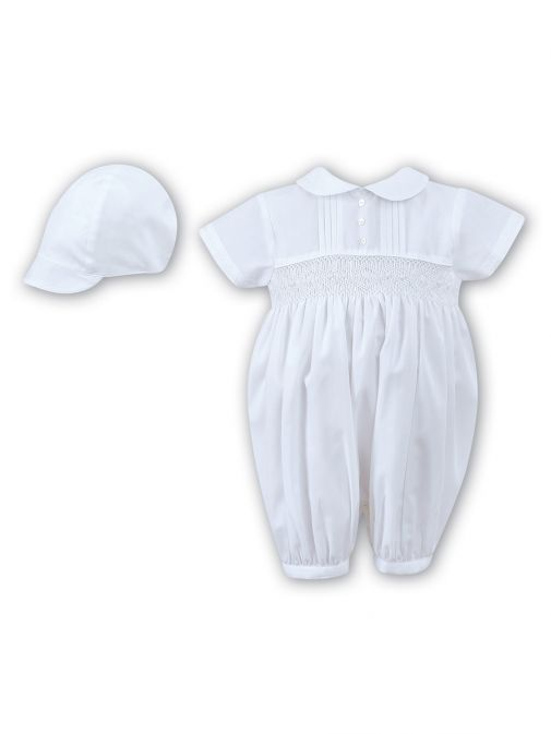 Sarah Louise White Embroidered Christening Romper and Cap b002200S-White