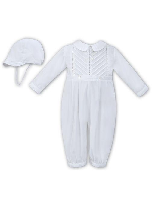 Sarah Louise White Long Sleeve Romper and Cap Set 011250/White-White
