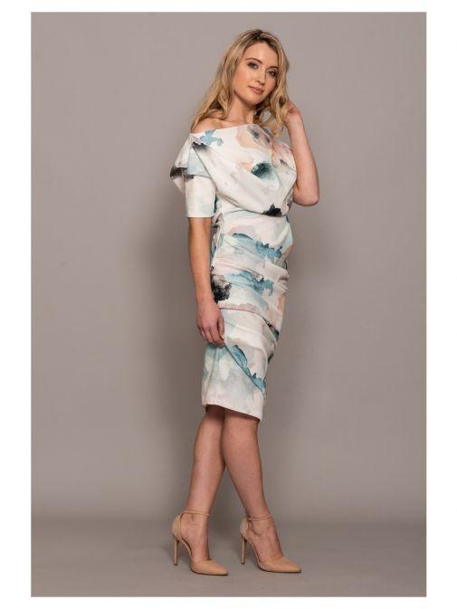 Atom Label Cream Floral Off Shoulder Dress