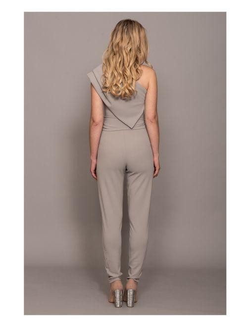 Atom Label Grey One Shoulder Jumpsuit