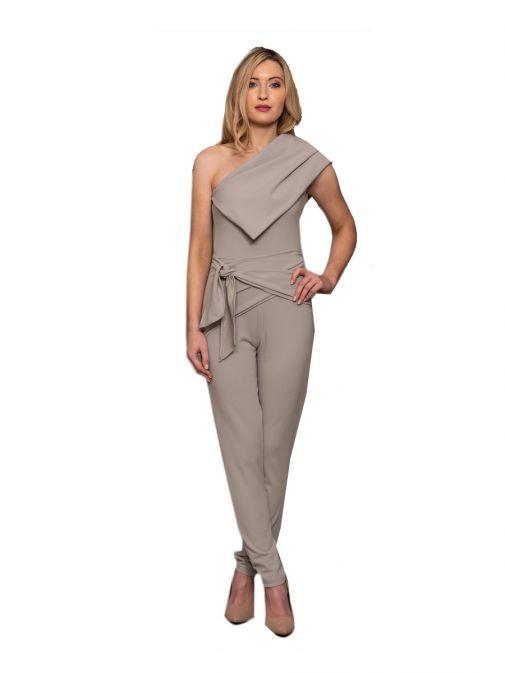 Atom Label Grey One Shoulder Jumpsuit 049/NA/85