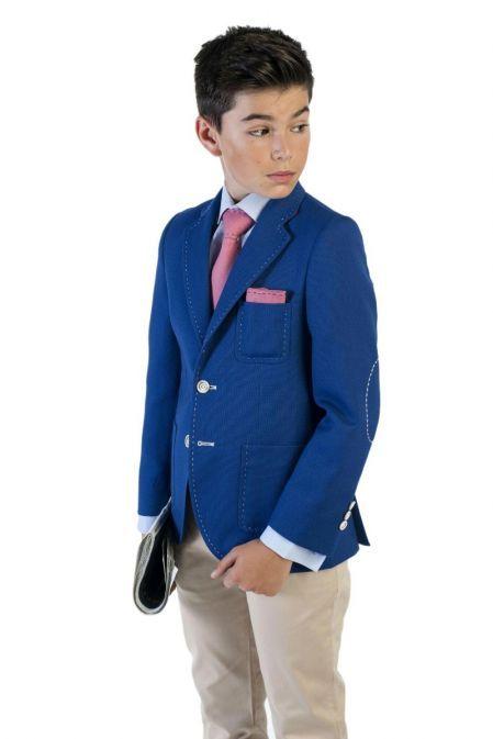 Varones Blue Stitch Detail Blazer