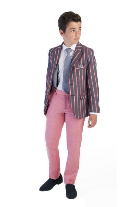 Varones Denim And Red Pinstripe Blazer 10-04043 79