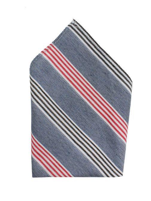 Varones Denim Stripe Pocket Square 10-08013A/06