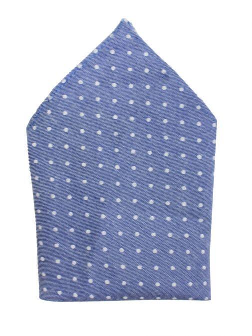Varones Blue Dotted Pocket Square 10-08013D/109