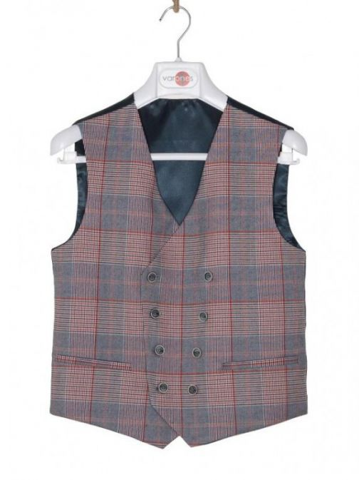 Varones Check Print Waistcoat 10-10006 99