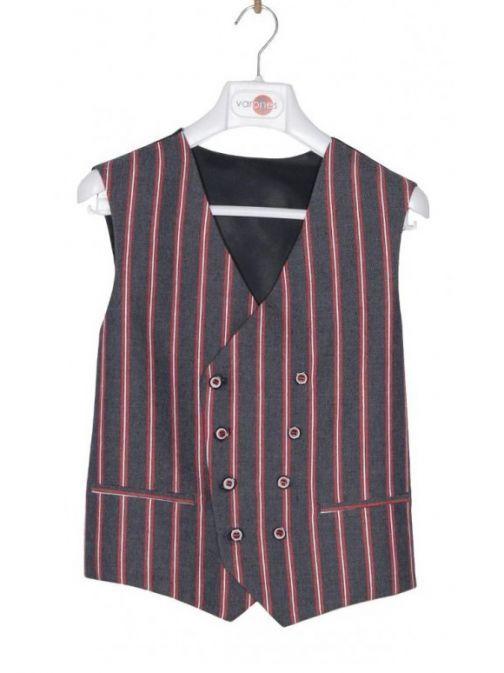 Varones Denim & Red Pinstripe Waistcoat 10-10008 79