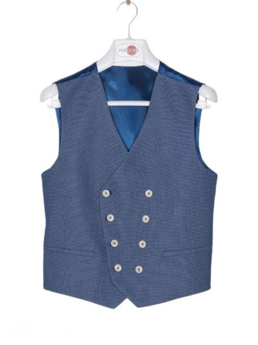 Varones Textured Blue Waistcoat 10-10010 78