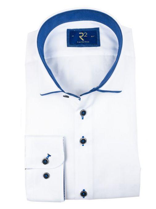 R2 Westbrook White Navy Trim Shirt 100.WSP.12/004 WHITE