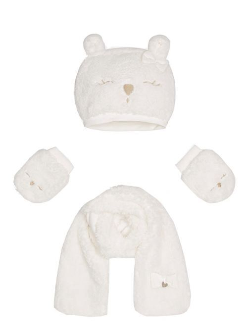 Mayoral Baby Girl White Fluffy Hat Scarf & Mittens Set 10241.62