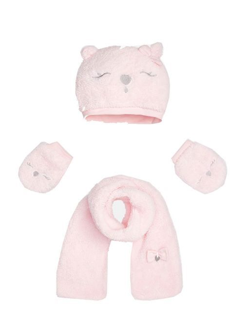 Mayoral Baby Girl Pink Fluffy Hat Scarf & Mittens Set 10241.63