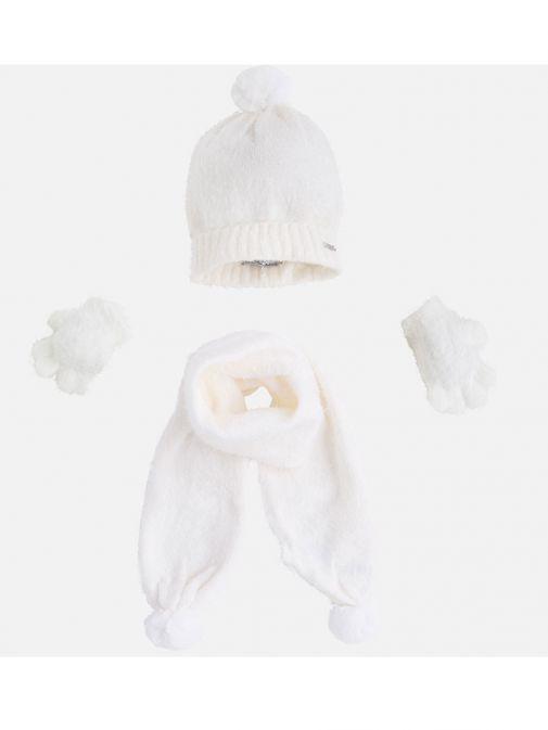 Mayoral Girls Cream Fluffy Hat Scarf & Gloves Set 10293.69