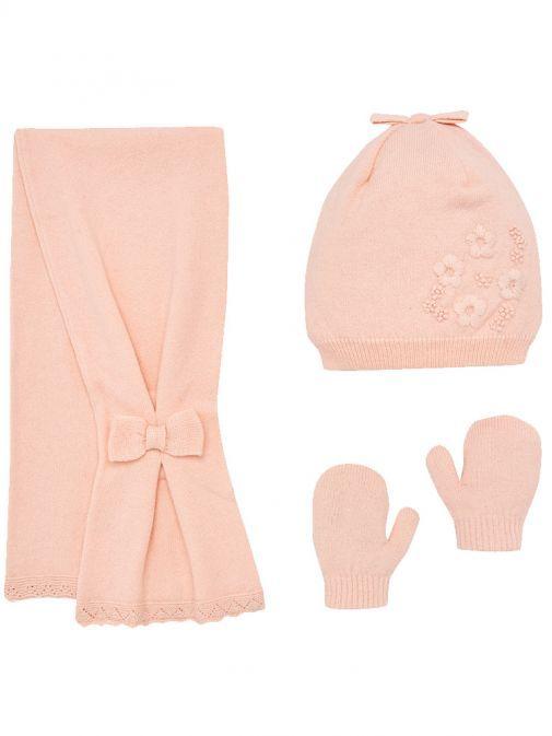 Mayoral Pink Floral Beanie, Scarf & Mittens Set 10461 16