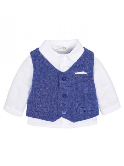 Mayoral White Shirt And Blue Waistcoat Set 1105 25
