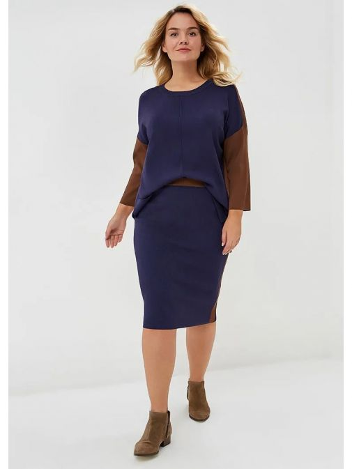 Samoon Navy & Brown Stretch-Knit Pencil Skirt 111001-25078 8004