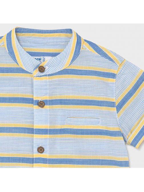 Mayoral Mango Grandad Collar Short Sleeved Shirt 1115/16-Orange