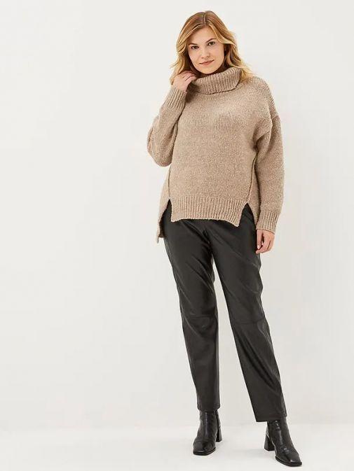 Samoon Black Leather Look Trousers 120017-21324 11000