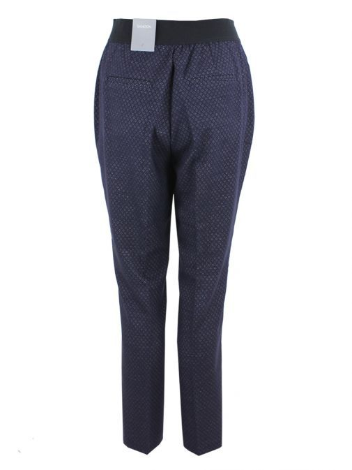 Samoon Navy Blue Geometric Print Trousers 120031-27167 8000