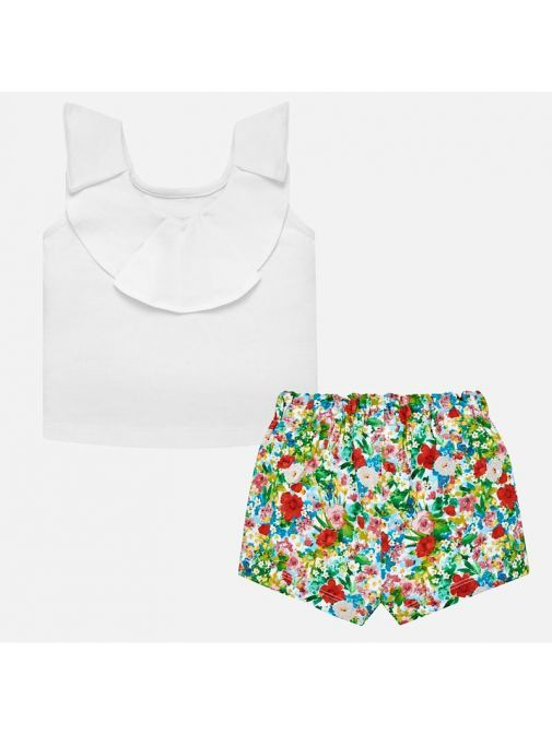 Mayoral White Multi T-Shirt & Shorts Outfit