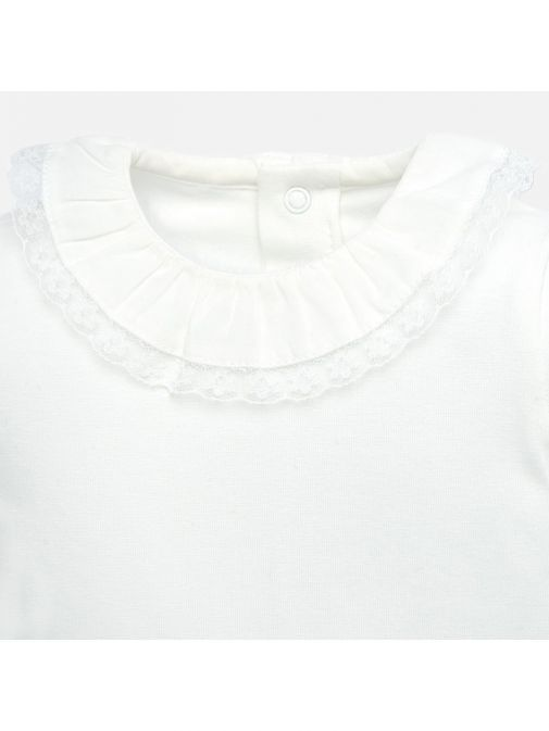 Mayoral Off-White Frill Collar Bodysuit
