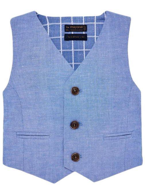 Mayoral Lavender Blue Linen Suit Waistcoat 1313 75