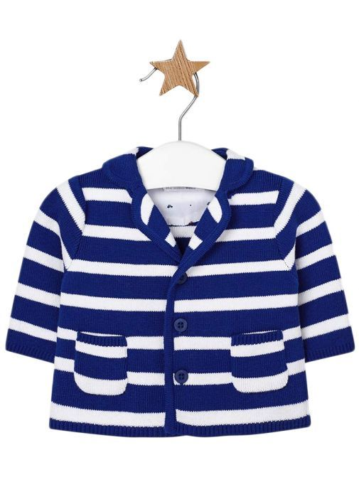 Mayoral Blue & White Striped Knitted Cardigan 1407 37