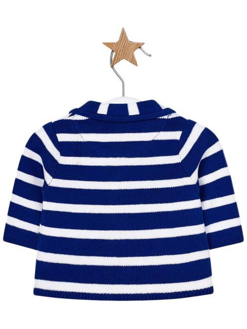 Mayoral Blue & White Striped Knitted Cardigan