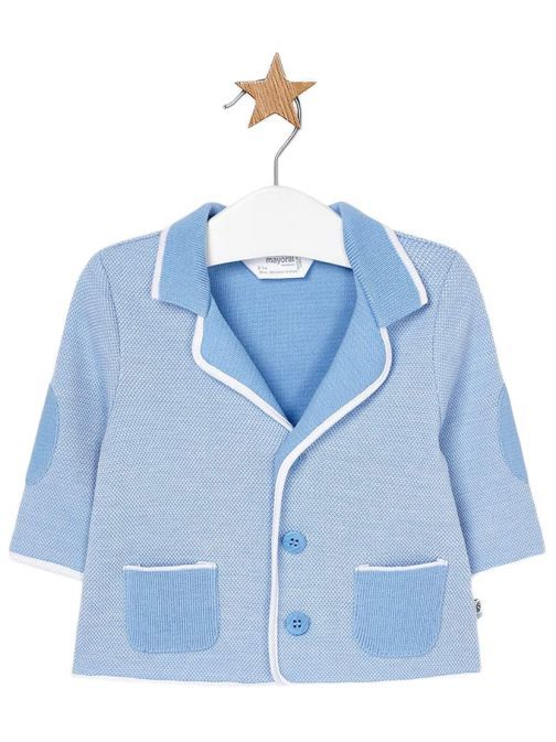 Mayoral Sky Knitted Elbow Patch Cardigan 1408 53