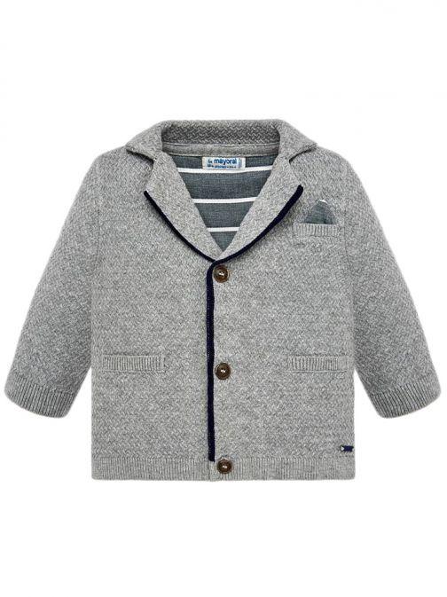 Mayoral Grey Knitted V-Neck Cardigan 1428 81