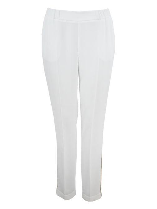 Marie Mero Cream Gold Panel Slim Fit Trousers 17 TR44 / 138