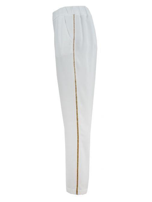 Marie Mero Cream Gold Panel Slim Fit Trousers