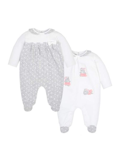 Mayoral White & Grey Pack of Two Babygrow Pyjamas 1711 10