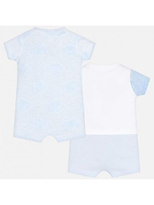 Mayoral White & Blue Short Patterned Pack Of Two Babygrows