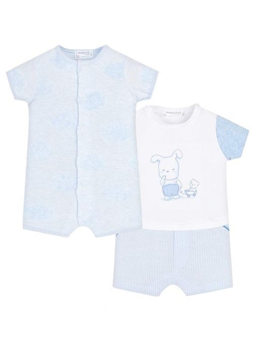 Mayoral White & Blue Short Patterned Pack Of Two Babygrows 1722 55