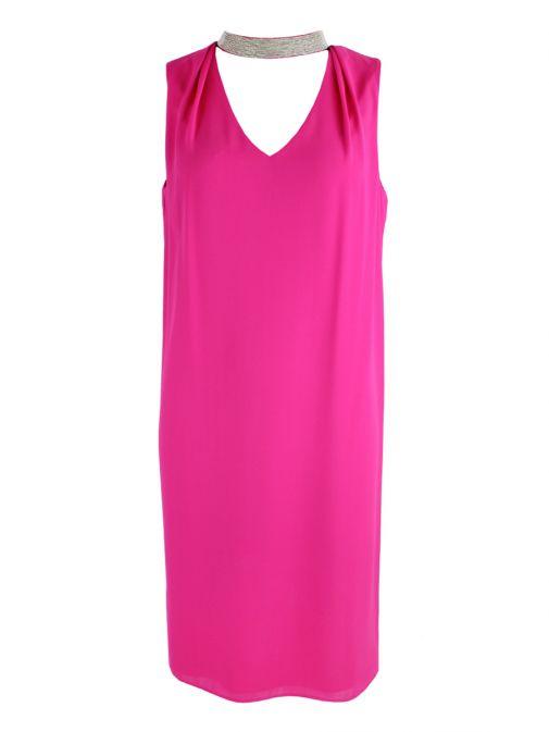 Frank Lyman Hot Pink Choker Midi Dress 176333 HOT PINK