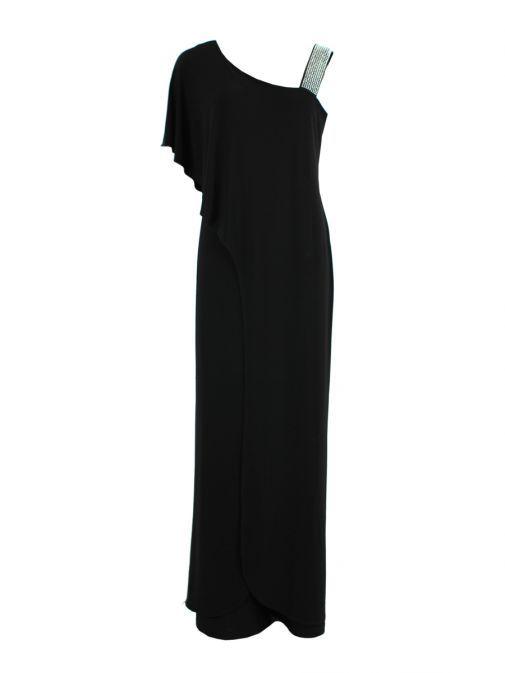 Frank Lyman Black Jumpsuit With Diamante Shoulder 179041 black