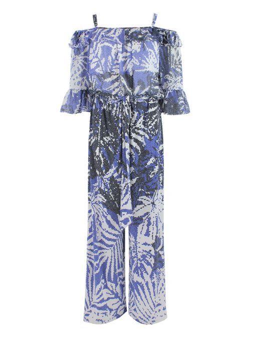 Frank Lyman White & Blue Printed Cold Shoulder Jumpsuit 181391 BLUE/WHITE