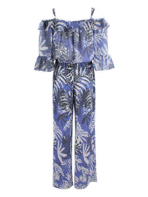 Frank Lyman White & Blue Printed Cold Shoulder Jumpsuit