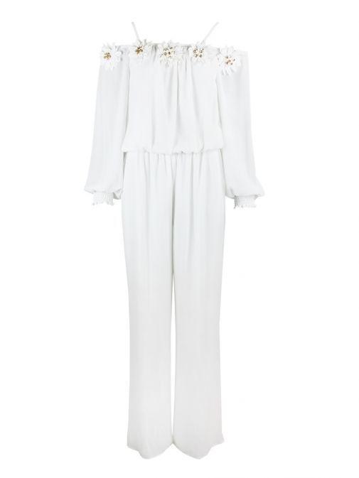 Frank Lyman Off-White Floral Neckline Jumpsuit 183199/OFFWH
