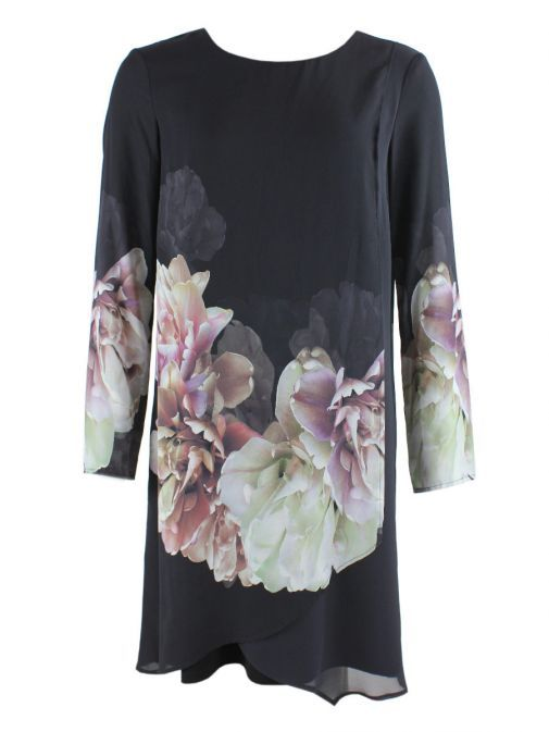 Frank Lyman Multi Floral Printed Long Sleeve Dress 18409 NAVY/MULTI