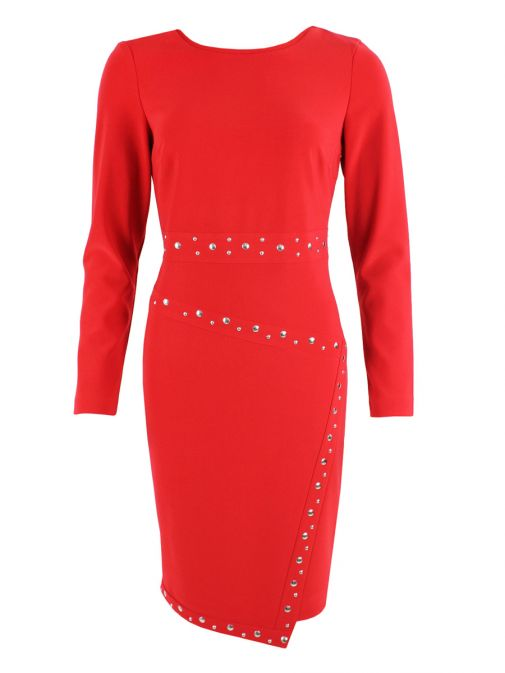 Frank Lyman Red Stud Detail Dress 185027/TOMATO