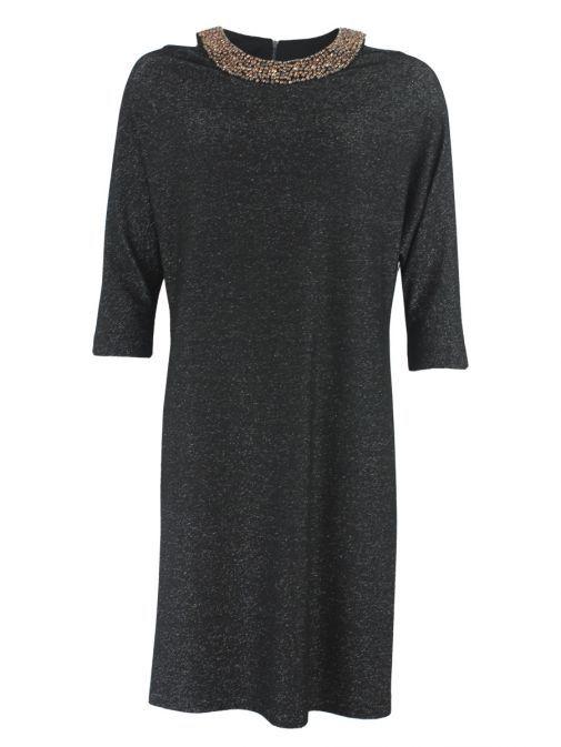 Frank Lyman Black Glitter Jersey Dress 185207 BLACK
