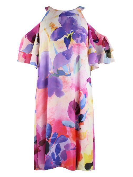 Frank Lyman Floral Cold Shoulder Shift Dress 186701 MULTI