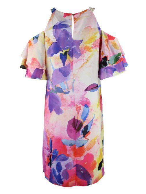 Frank Lyman Floral Cold Shoulder Shift Dress